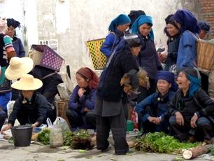 Pruta på tupp i Yuanyang, Yunnan