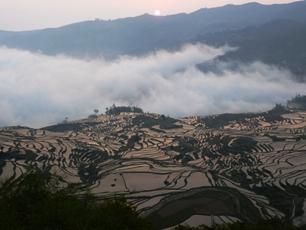 Soluppgång över risterrasserna i Yuanyang, mellersta Yunnan