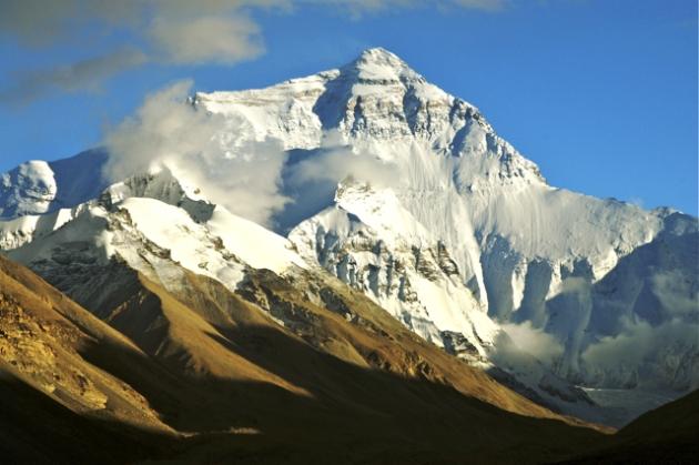 Mount Everest på gränsen mellan Tibet och Nepal